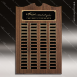 The Trevett Walnut Arch Perpetual Plaque  60 Black Plates Employee Trophy Awards