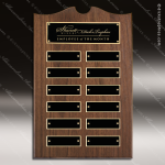 The Trevett Walnut Arch Perpetual Plaque  12 Black Plates Employee Trophy Awards