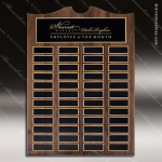 The Trevillion Walnut Arched Perpetual Plaque  48 Black Plates Employee Trophy Awards