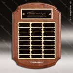 The Trichell Walnut Arched Perpetual Plaque  24 Black Plates Employee Trophy Awards