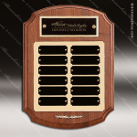 The Trichell Walnut Arched Perpetual Plaque  12 Black Plates Employee Trophy Awards