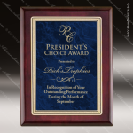 Engraved Rosewood Plaque Blue Marble Plate Gold Border Wall Placard Award Employee Trophy Awards