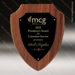 Engraved Walnut Plaque Black Shield Plate Wall Placard Award Employee Trophy Awards