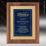 Engraved Walnut Plaque Blue Marble Plate Gold Border Wall Placard Award Employee Trophy Awards