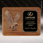 Engraved Walnut Plaque Eagle Bronze Casting Wall Placard Award Employee Trophy Awards