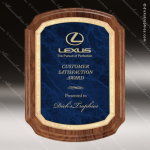 Engraved Walnut Plaque Blue Marble Shield Gold Border Wall Placard Award Employee Trophy Awards