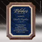 Engraved Walnut Plaque Blue Marble Scalloped Plate Wall Placard Award Employee Trophy Awards