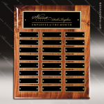 The Memmott Walnut Piano Finish Perpetual Plaque  24 Black Plates Employee Trophy Awards