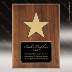 Engraved Walnut Plaque Black Plate Gold Star Award Employee Trophy Awards
