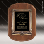 Engraved Walnut Plaque Black Plate Antique Bronze Border Award Employee Trophy Awards