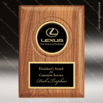 Engraved Walnut Plaque Black Plate Insert Your Logo Award Employee Trophy Awards