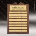 The Trenholm Walnut Arched Perpetual Plaque  24 Gold Plates Employee Trophy Awards