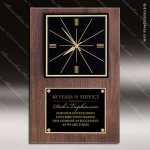 American Walnut Wall Clock with Large Engraving Plate Employee Trophy Awards