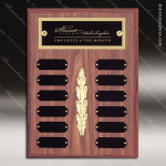 The Morvillo Laminate Walnut Perpetual Plaque  12 Black Plates Employee Trophy Awards