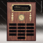 The Morvillo Laminate Walnut Perpetual Plaque  13 Black Plates Employee Trophy Awards