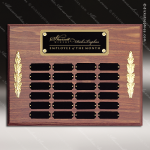 The Morvillo Laminate Walnut Perpetual Plaque  24 Black Plates Employee Trophy Awards
