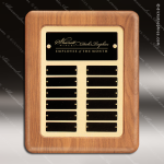 The Trombley Walnut Framed Perpetual Plaque  12 Black Plates Employee Trophy Awards