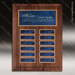 The Trusillo Walnut Perpetual Plaque  12 Blue Marble Plates Employee Trophy Awards
