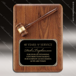 Engraved Walnut Plaque Gavel Mounted Black Brass Wall Plaque Award Employee Trophy Awards