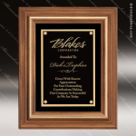 Engraved Walnut Plaque Framed Black Plate Gold Border Wall Placard Award Employee Trophy Awards
