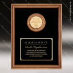 Engraved Walnut Plaque Framed Logo Insert Cast Medallion Black Plate Wall P Employee Trophy Awards