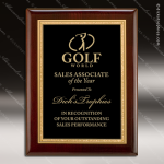 Engraved Rosewood Plaque Black Plate Gold Border Wall Placard Award Employee Trophy Awards