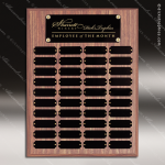 The Morvay Laminate Walnut Perpetual Plaque  40 Black Plates Employee Trophy Awards