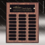 The Morvay Laminate Walnut Perpetual Plaque  24 Black Plates Employee Trophy Awards