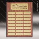 The Morvilla Laminate Walnut Perpetual Plaque  24 Gold Plates Employee Trophy Awards