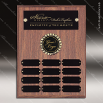 The Morvay Laminate Walnut Perpetual Plaque  12 Black Plates Employee Trophy Awards