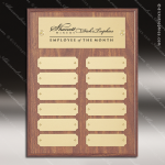The Morvilla Laminate Walnut Perpetual Plaque  12 Gold Plates Employee Trophy Awards