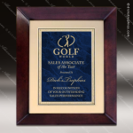 Engraved Cherry Hardwood Plaque Framed Blue Marble Plate Gold Border Wall P Employee Trophy Awards
