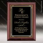 Engraved Cherry Hardwood Plaque Black Plate Textured Border Wall Placard Aw Employee Trophy Awards