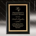 Engraved Black Piano Finish Plaque Black Plate Gold Border Wall Placard Awa Employee Trophy Awards