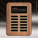 The Tefollla Walnut Perpetual Plaque  12 Black Plates Employee Trophy Awards
