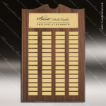 The Trenholm Walnut Arched Perpetual Plaque  60 Gold Plates Employee Trophy Awards