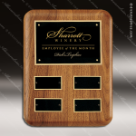 The Tefollla Walnut Perpetual Plaque   4 Black Plates Employee Trophy Awards