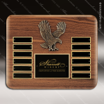 The Tefollla Walnut Perpetual Plaque  12 Black Plates Eagle Medallion Employee Trophy Awards