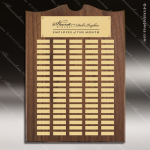 The Trenholm Walnut Arched Perpetual Plaque 100 Gold Plates Employee Trophy Awards