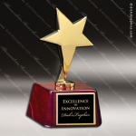 Gold Star With Rosewood Base Employee Trophy Awards