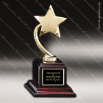 Gold Star On Wood Base Employee Trophy Awards
