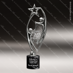 Cast Chrome Finished Holding Star Sculpture Marble Base Trophy Award Employee Trophy Awards