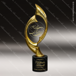 Cast 24K Gold Finished Art Disc Flame Sculpture Marble Base Trophy Award Employee Trophy Awards