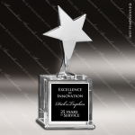 Crystal  Silver Star Trophy Award Employee Trophy Awards