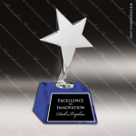 Crystal Blue Accented Base Silver Star Trophy Award Employee Trophy Awards