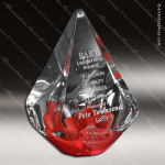 Artistic Red Accented Art Glass Large Chilung Quattro Pyramid Trophy Award Employee Trophy Awards