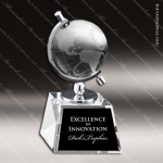 Crystal  Globe In Semi-Meridian Holder Trophy Award Employee Trophy Awards