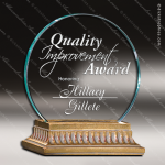 Amity Gold Accented Jade Glass Circle Trophy Award Employee Trophy Awards