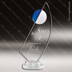 Crystal Blue Accented Fan La Mariner Trophy Award Employee Trophy Awards