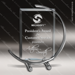 C-Note Silver Accented Jade Glass Rectangle Trophy Award Employee Trophy Awards